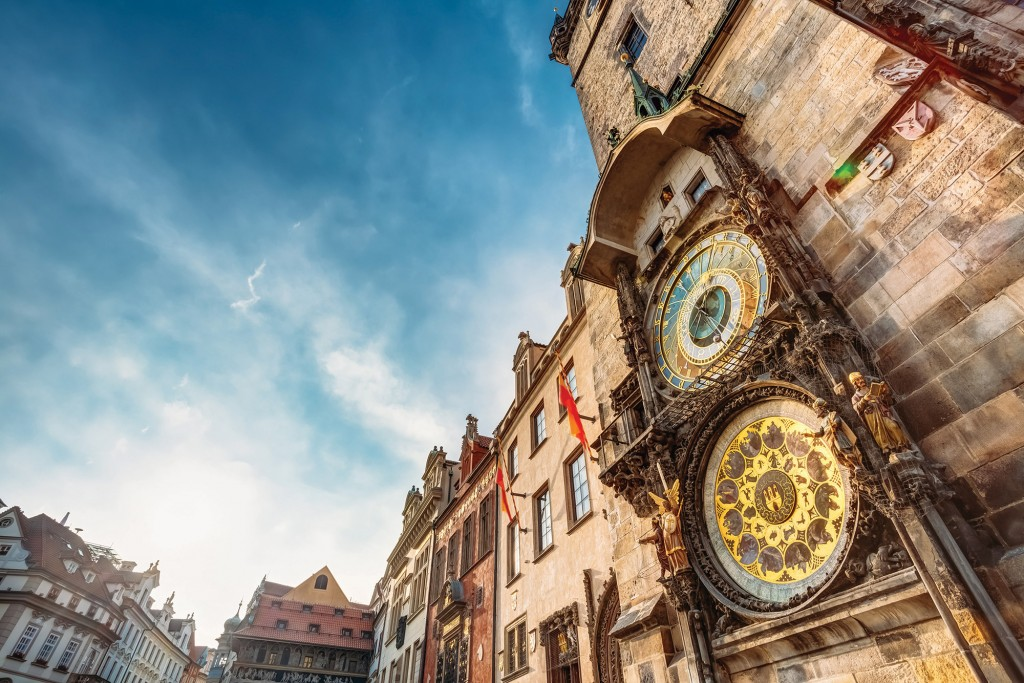 Tower With Astronomical Clock Orloj In Prague, Czech Republic